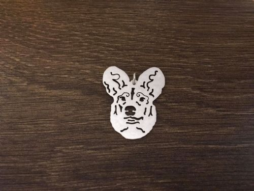 African painted wild dog face pierced pendant, necklace sterling silver handmade